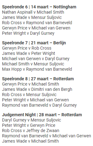premier league darts 2019 speelschema 2